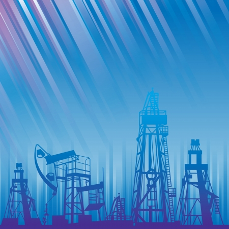 Oil rig and oil pump over blue luminous rays  file included   illustration  Vector