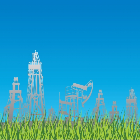 Oil rig and pump over blue background and green grass.file included illustration. Stock Vector - 14850553