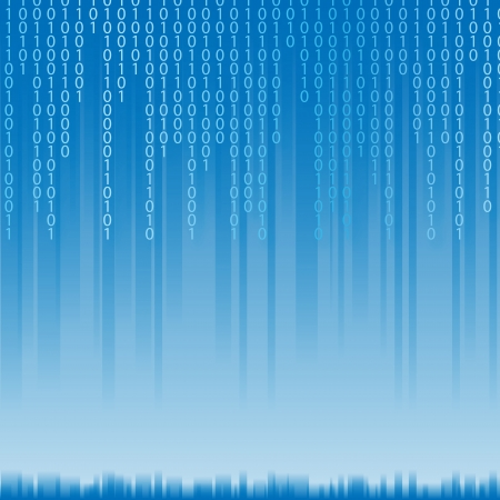 computer language: Abstract binary code background of Matrix style. Light text on blue illustration.
