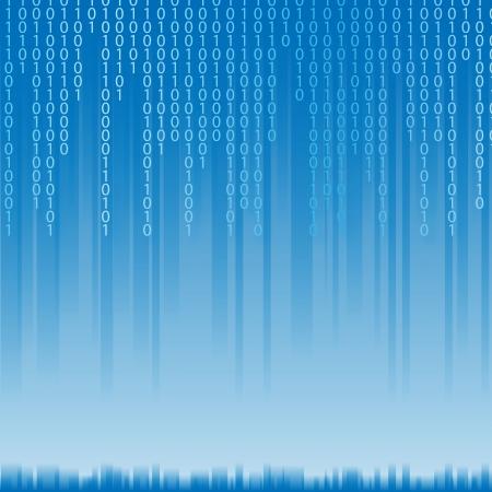 Abstrait code binaire du style Matrix. Texte clair sur bleu illustration.