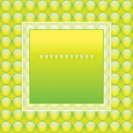 A text box with a frame on a background of green spheres   illustration  Vector