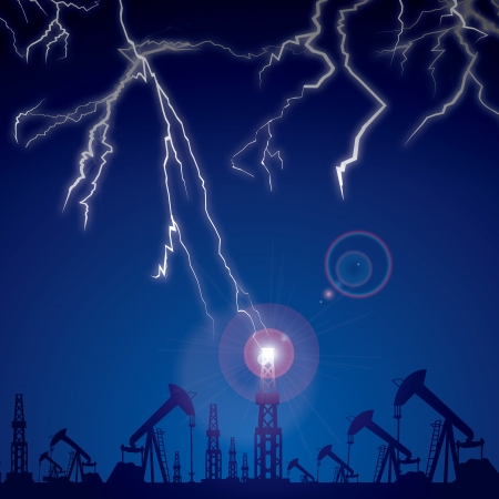 Lightning strikes in the oil rig located at the site of the oil pumps against the night sky  Vector