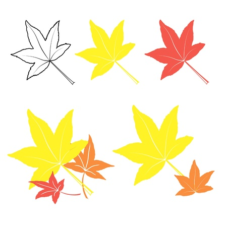 set of colorful, hand drawn style autumn leaves,  Stock Vector - 15398949