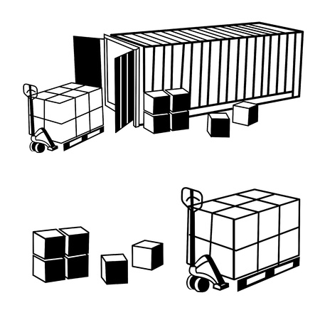 Container with cargo isolated on white background  illustration  Vector
