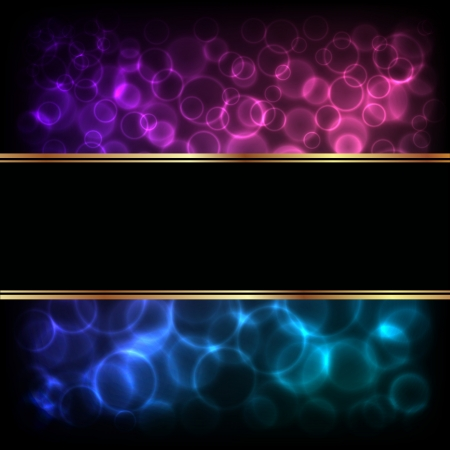 Abstract of bokeh over dark background with text banner  illustration