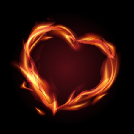 burning heart: Fire flames making a heart shape   illustration  Stock Photo