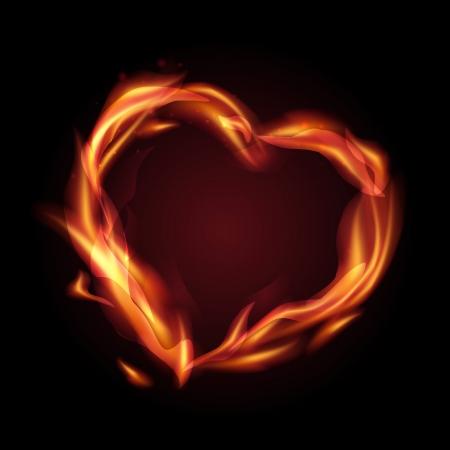 Fire flames making a heart shape illustration