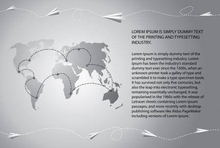 Avi�es de papel voar sobre o campo de texto em branco mapa do mundo inclu�do