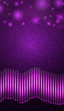 wavelength: Ecualizador con luces de color p�rpura sobre fondo violeta Vectores