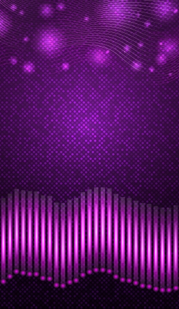 Equalizer with purple lights over violet background  Vector