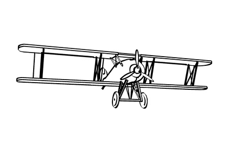Silhouette of old biplane, engraving  Vector illustration  Vector
