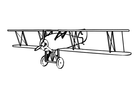 Silhouette of old biplane, engraving Vector
