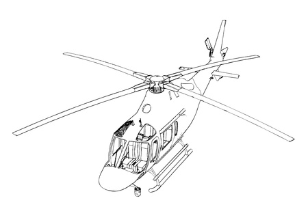Helicopter sketch at engraving style Vector