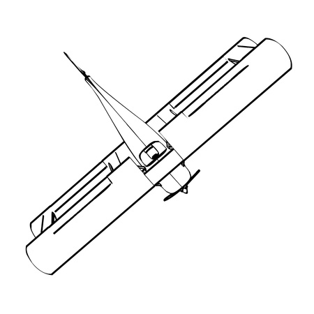 Silhouette of old biplane, engraving illustration  Vector