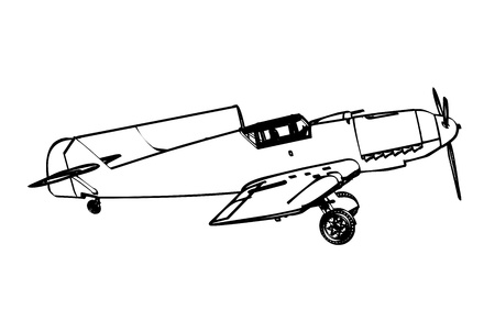 WW2 German messerschmitt bf 109 fighter plane  illustration  Vector