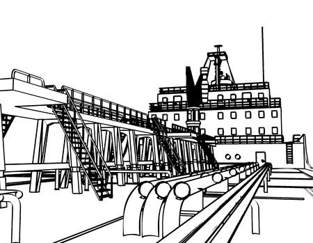 Large Tanker Ship, engraving style  illustration  Stock Vector - 15800161