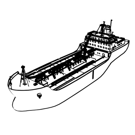 Large Tanker Ship, engraving style illustration  Vector