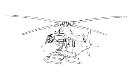 Helicopter sketch at engraving style illustration  Vector