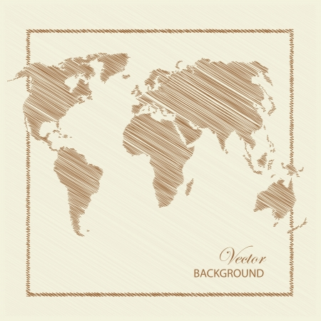old world: World map scratch colored brown  illustration