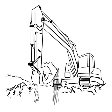 Heavy earth mover isolated on white  illustration  Vector