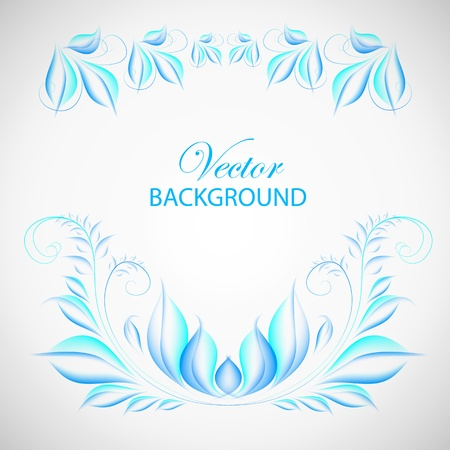 Abstract colorful blue leaves with text field  Vector