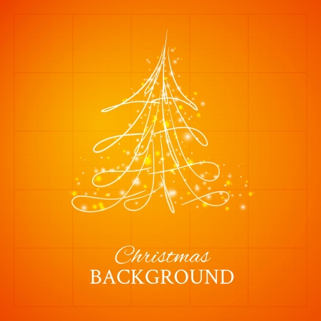fur tree ornament: Simple sketch and glossy Christmas tree isolated on orange background Illustration
