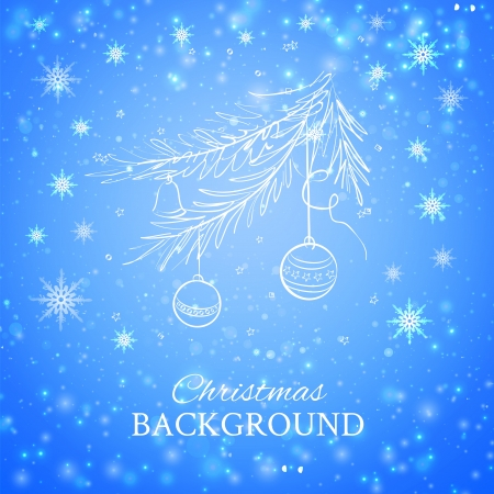 spruce tree: Christmas evergreen spruce tree with glass ball on snow background   illustration  Illustration