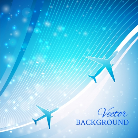 Airplane on blue background with white lines  Isolated design element  Airliner, jet Stock Vector - 16111308