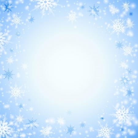 snow flakes: Blue background with white snowflakes   illustration  Illustration