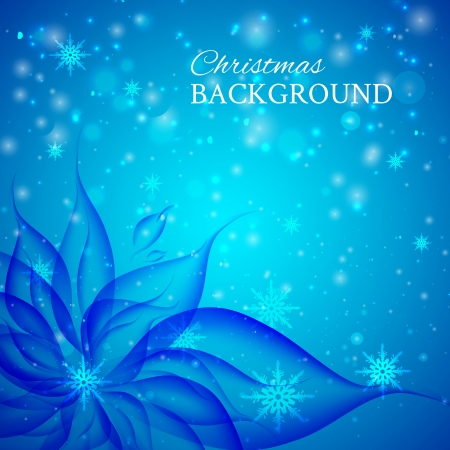 Abstract christmas colorful blue flower illustration Vektorové ilustrace