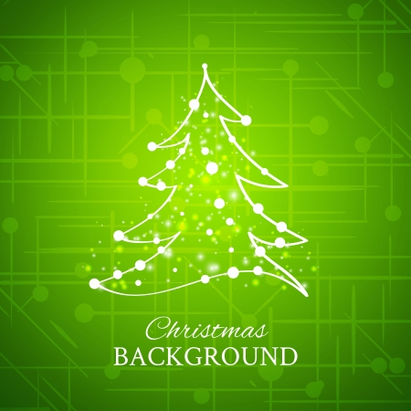 christmas fur tree: Simple sketch and glossy Christmas tree isolated on green background