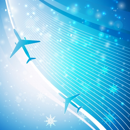Airplane on blue background with splashes   illustration  Vector