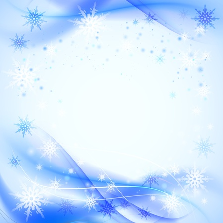 Abstract winter background with snowflakes   illustration Stock Vector - 16111333
