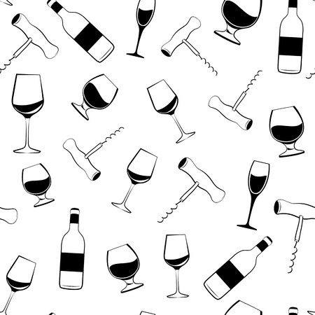 Wine glass, bottle and screw seamless pattern   illustration  Stock Vector - 16111403