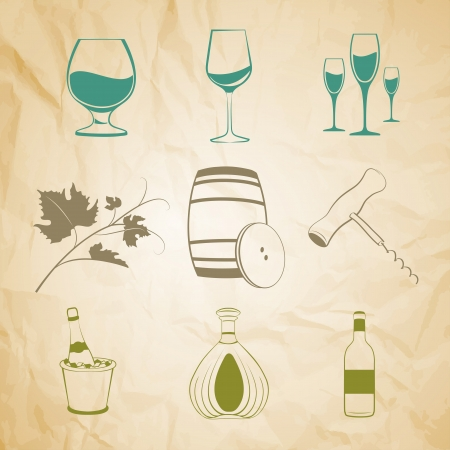 Set of wine items icons over old paper   illustration  Vector