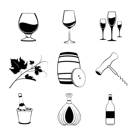 Set of wine items icons   illustration  Vector