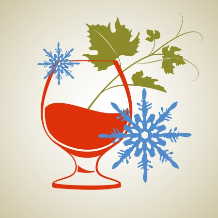 frozen drink: Red wine grass with snowflakes   illustration  Illustration