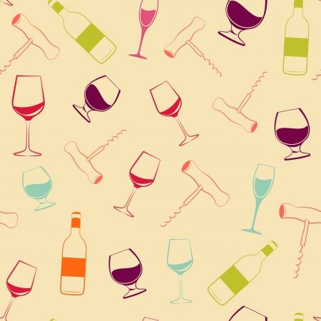 Wine glass, bottle and screw seamless patern  illustration  Vector