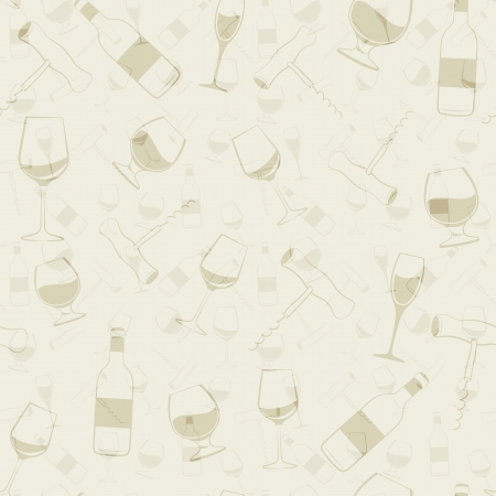 bottle screw: Wine glass, bottle and screw seamless patern  illustration
