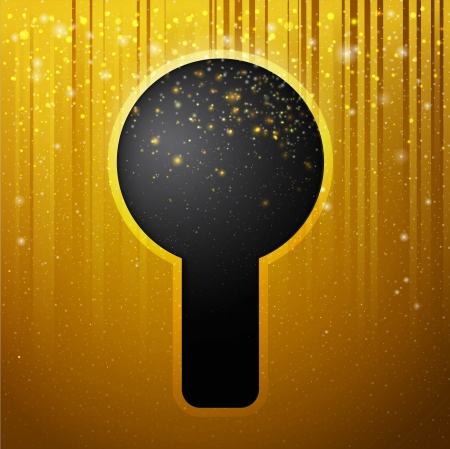 Conceptual key hole with magic stars and curtains, illustration