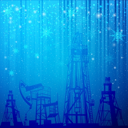 Oil rig and oil pump over snowfall illustration  Vector