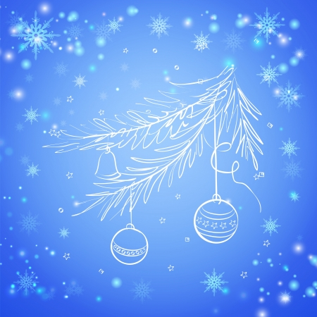 spruce tree: Christmas evergreen spruce tree with glass ball on snow background illustration