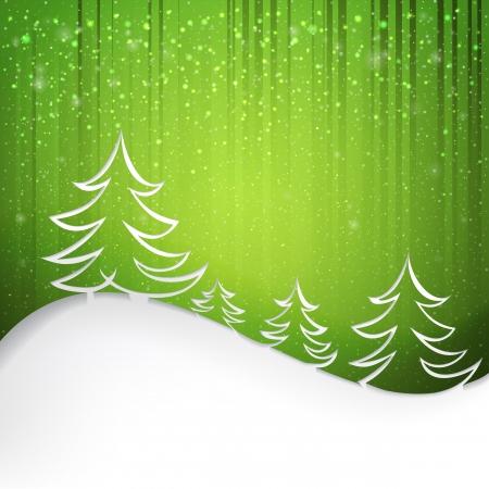 arbre     ? � feuillage persistant: Firs sur fond vert avec des flocons de neige blanc illustration