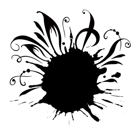 ink drop: Black Grunge Blob, Isolated On White Background