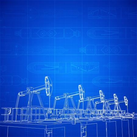 Oil derricks, sketch of drilling park over blueprint. Vector illustration.