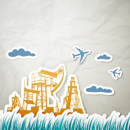 Technique for oil in a landscape.  Vector