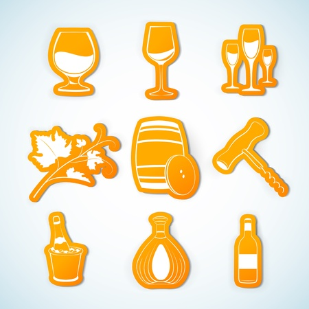 Paper Cut - Drink and Wine icons set. Vector
