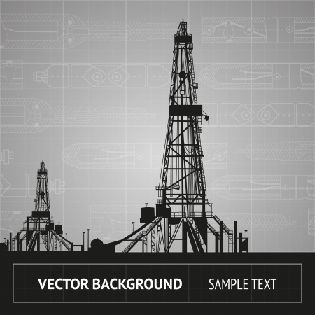 Sketch of oil rig over blueprint. Vector