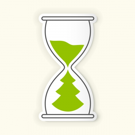 hour hand: Hourglass time icon with Christmas tree metaphor.