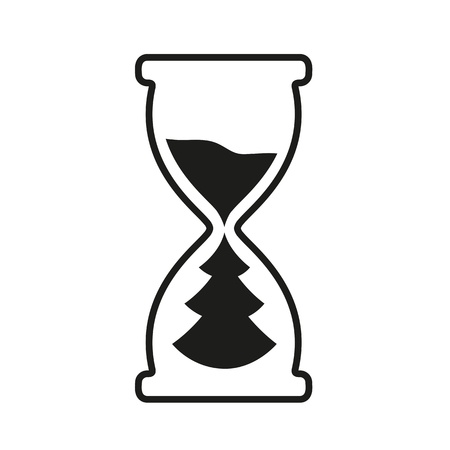 Hourglass time icon with Christmas tree metaphor. Vector